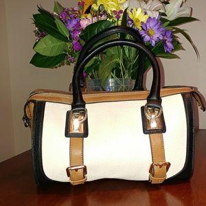 Melie Bianco front buckle double handle satchel